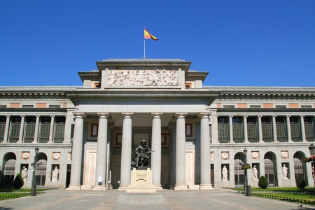 Madrid Museo del Prado with Velazquez statue main door in Castellana
