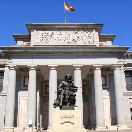 velazquez: Madrid Museo del Prado with Velazquez statue main door in Castellana