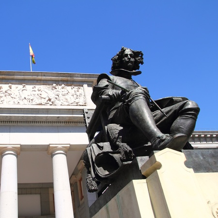 Madrid Museo del Prado with Velazquez statue main door in Castellana