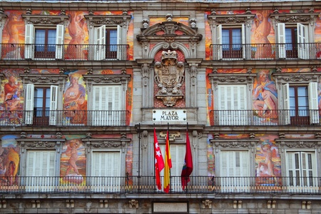 Madrid Plaza Mayor colorful facade typical square in Spain