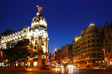 Alcala and Gran Via street in Madrid night city lights