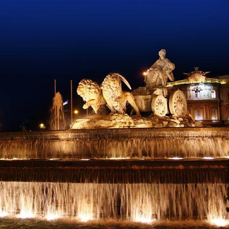 castellana: Cibeles night statue in Madrid Paseo Castellana of Spain