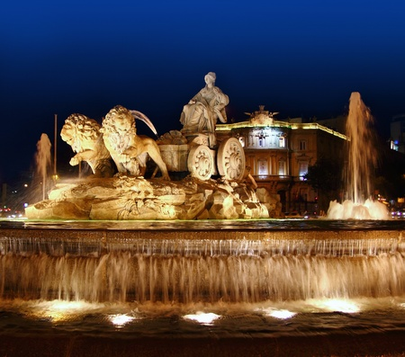 light source: Cibeles night statue in Madrid Paseo Castellana of Spain