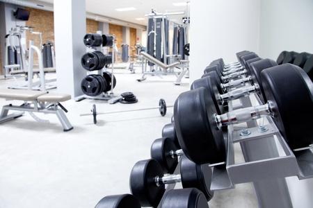machinery and equipment: Fitness club weight training equipment gym modern interior Stock Photo
