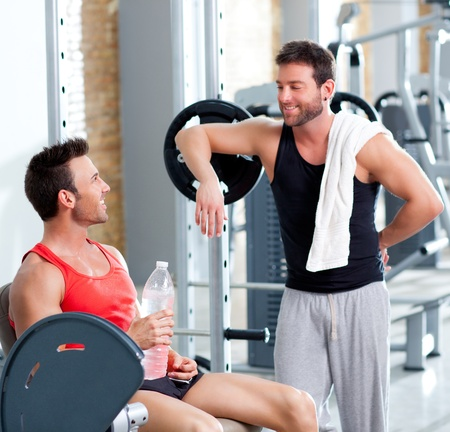 muscle men: two men on a sport gym relaxed after fitness sport Stock Photo