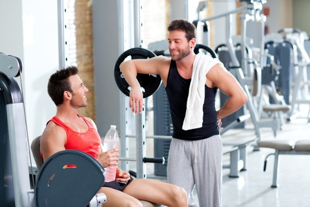 two men on a sport gym relaxed after fitness sport Stock Photo - 11982206