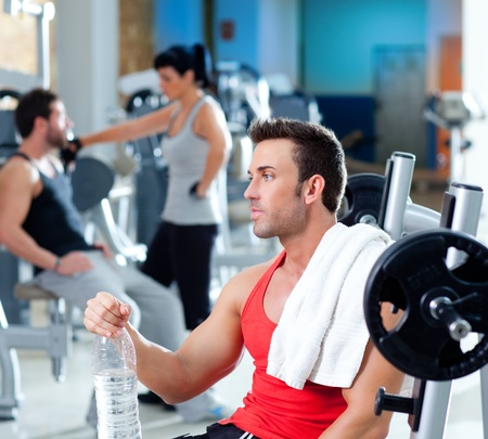 man relaxed on gym after fitness sport training with water bottle Stock Photo - 11982054