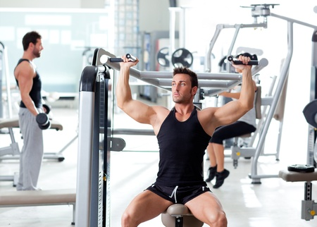 fitness sport gym group of people training with weights photo