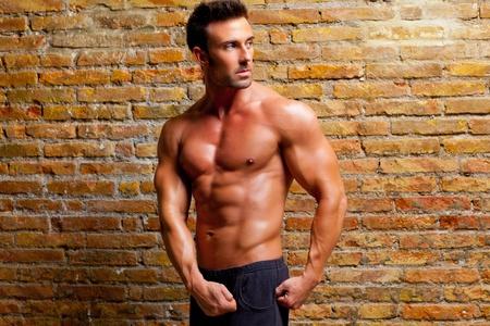 muscle shaped man posing on gym grunge brick wall photo