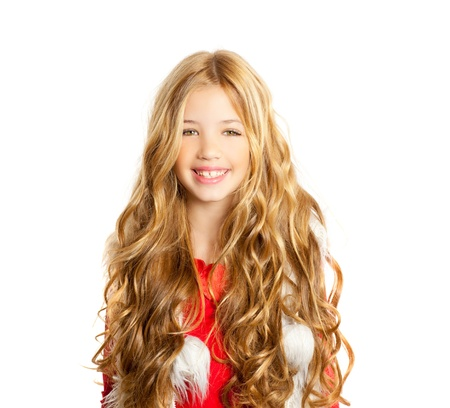 curly hair model: Kid little girl with christmas winter white fur and red shirt