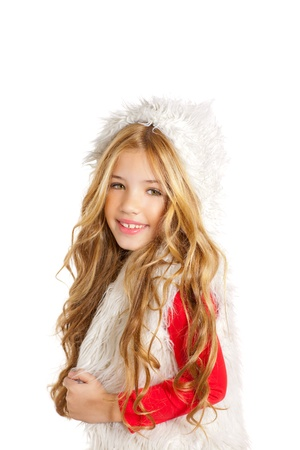child model: Kid little girl with christmas winter white fur and red shirt
