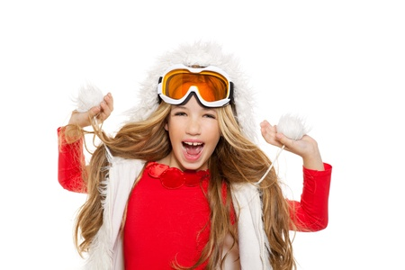 kid girl with snow winter glasses and white fur coat isolated background photo