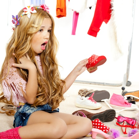fashion victim kid girl wardrobe messy like backstage model Stock Photo - 12148250