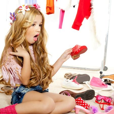 fashion victim kid girl wardrobe messy like backstage model Stock Photo - 12148250