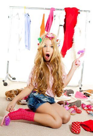 victims: fashion victim kid girl wardrobe messy like backstage model