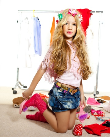fashion victim kid girl wardrobe messy like backstage model Stock Photo - 12148258
