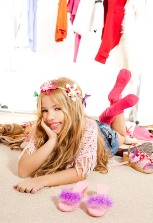 fashion victim kid girl wardrobe messy like backstage model photo
