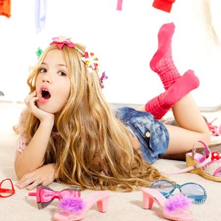 fashion victim kid girl wardrobe messy like backstage model photo