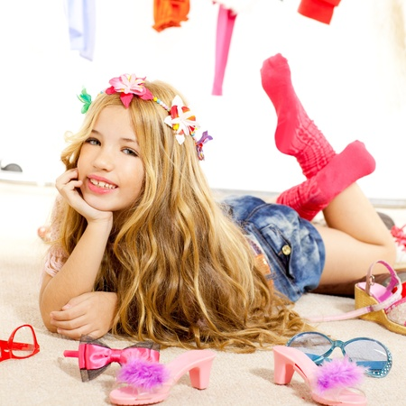 fashion victim kid girl wardrobe messy like backstage model Stock Photo - 12148245