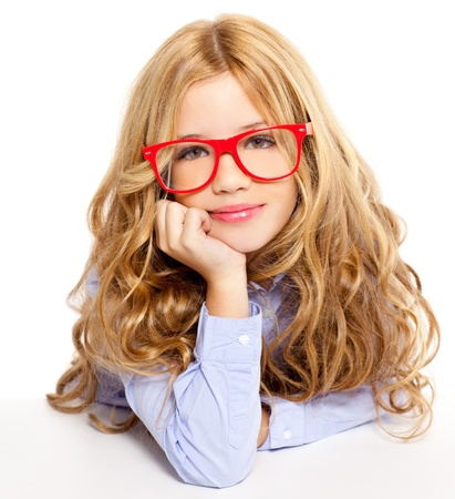 nerd girl: blond fashion kid girl with red glasses portrait isolated on white