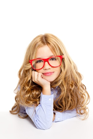 blond fashion kid girl with red glasses portrait isolated on white photo
