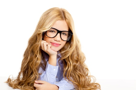 blond fashion kid girl with glasses portrait isolated on white photo