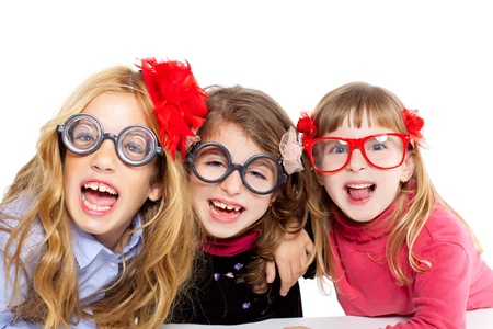 brainy: nerd children girl group with glasses and funny expression