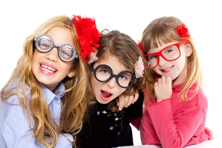 crazy girl: nerd children girl group with glasses and funny expression
