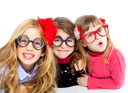 nerd glasses: nerd children girl group with glasses and funny expression