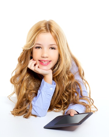blond student kid with ebook tablet pc portrait in desk isolated on white background photo