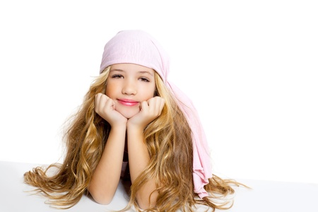 kid girl with pirate handkerchief beautiful portrait isolated on white photo