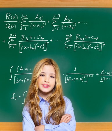 kid smart student girl with difficult math formula on green school blackboard Stock Photo - 12148226
