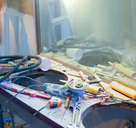 home improvement repair messy clutter with dusted tools handtools Stock Photo - 12382918