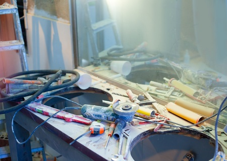 home improvement repair messy clutter with dusted tools handtools Stock Photo - 12382867