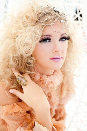 haute: Baroque haute couture woman portrait with vampire inspiration Stock Photo