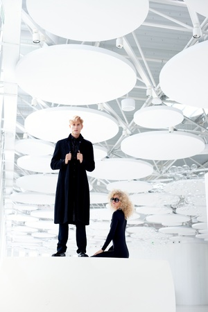 Blond couple classic movie secret agent and sexy girl in black photo