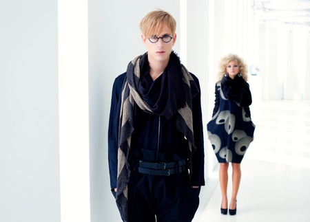 classic modern student man with fashion woman in modern white indoor photo