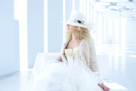 eighteenth: blond fashion woman with eighteenth century corset haute couture