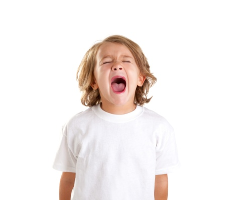 children kid screaming expression on white background photo