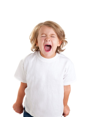 angry blonde: children kid screaming expression on white background Stock Photo