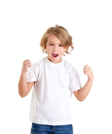 children excited kid with happy winner expression isolated on white