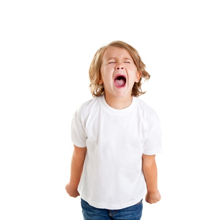 screaming face: children kid screaming expression on white background Stock Photo