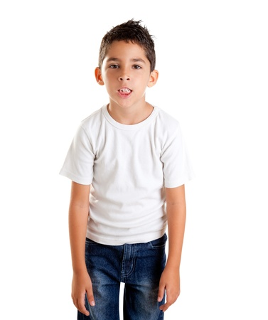 annoyed kid with funny fed up gesture isolated on white photo