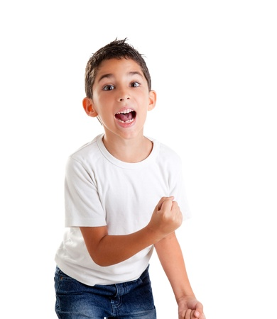 children excited kid epression with winner gesture screaming happy photo
