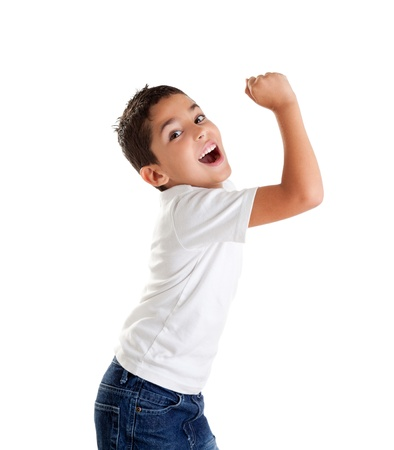 children excited kid epression with winner gesture screaming happy Stock Photo
