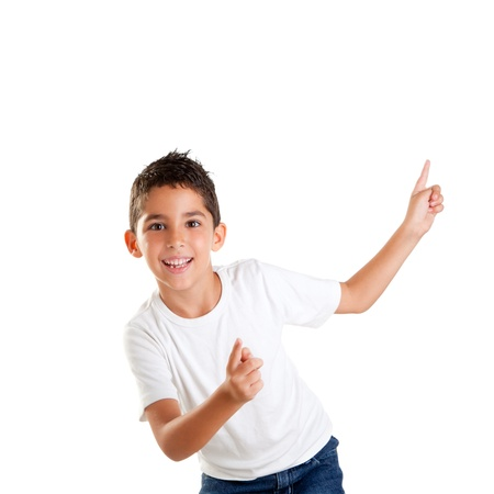 dancing happy children kid boy with fingers up isolated on white photo