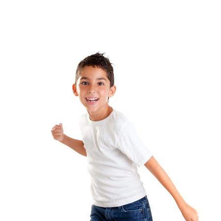 e8d77f08b33803  12382346 - Kinderen punch jongen grappig gebaar glimlachend op witte  achtergrond