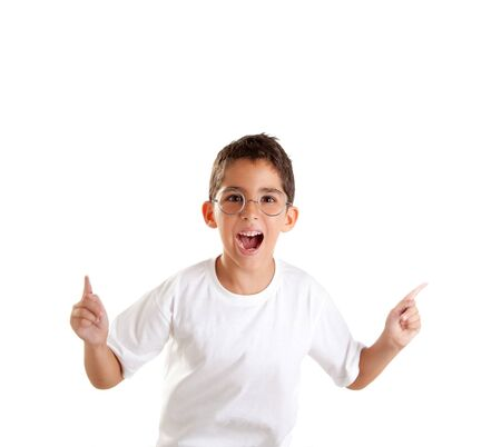 funny boy: children nerd kid boy with glasses and happy expression isolated on white