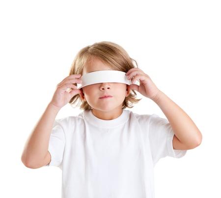 blind child: blindfolded children blond kid portrait isolated on white