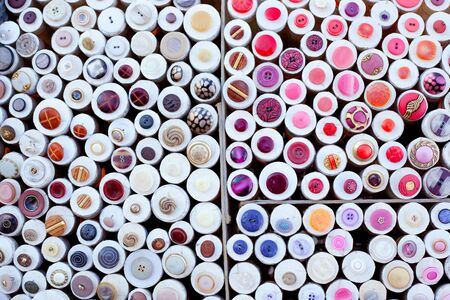 colorful buttons display round boxes pattern texture Stock Photo - 12382850